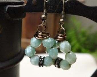 Wire Wrapped Circle Faceted Sea Foam Czech Glass Bead Earrings - ERU155