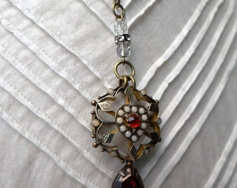 1900's Ruby and Faux Seed Pearl Brooch Assemblage Necklace - NRU087