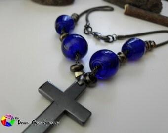 Blue Glass Beads with Hematite Cross