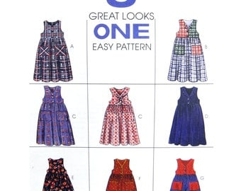 1994 McCall's 8248 Girls' Loose Fitting, Front Buttoned Jumper, Romper with Detachable Collar, Uncut, Factory Folded Sewing Pattern Size 4-6