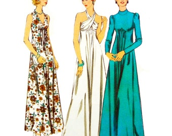70's Style 1929 Evening/Special Ocassion Maxi Dress with Halter Neck, V-Shaped Neck or Bias Stand Collar, Uncut/FF Sewing Pattern Size 12
