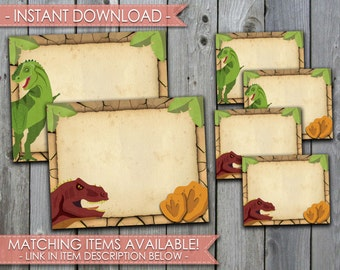 Dinosaur Food Labels, Dino Food Labels, Printable Table Labels, T-Rex Birthday Labels, Jurassic Labels, Printable, Instant Download, #393