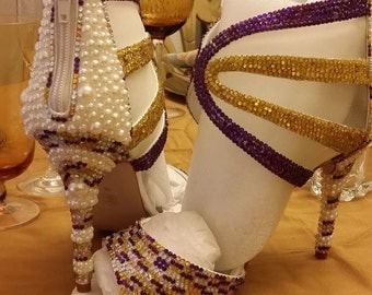 Purple, Gold, and Crystal Wedding Shoes