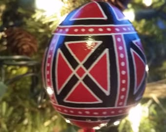 Traditional Red & Black Pysanky Christmas Ornament