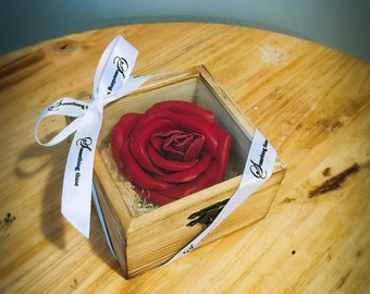 Handmade leather rose with wooden box