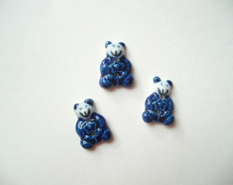 Vintage ceramic teddy bear buttons, white and blue bear buttons, lot of 3 sweater buttons, hand painted buttons, vintage teddy bear buttons
