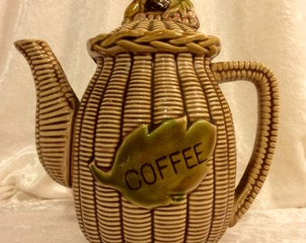 Ceramic coffee pot.