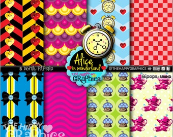 Alice Digital Paper, 80%OFF, COMMERCIAL USE, Printable Paper, Alice in Wonderland, Alice Decoration, Digital Paper Set, Alice Party