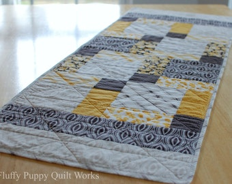Modern Quilted Table Runner, Yellow Black Gray Table Decor, Modern Yellow Table Mat, Black and White Table Runner, Mustard Yellow Runner