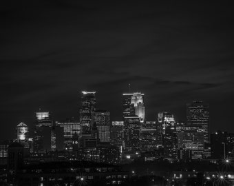 Minneapolis in Black and White Minnesota Wall art print photograph Landscape Urban photography