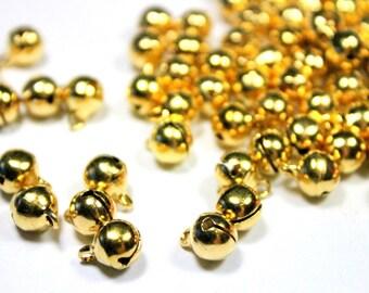 6mm Gold Jingle Bells - Brass Bells - Brass Plated Beads