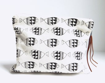 Hand Printed Geometric Fish Clutch
