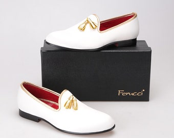 FERUCCI white custom-made Velvet Slippers loafers with gold   tassel davucci