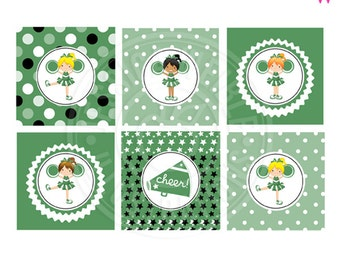 Green Cheerleader Printable Party Favor Tags, 2 inch Cupcake Toppers, Girls Cheerleading Square Tags, Green Cheerleader Tags, Cheer Squad