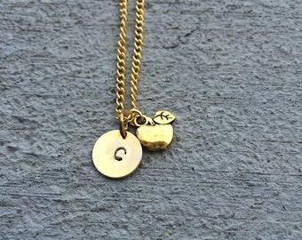 SALE! Apple Necklace, Teacher Gift