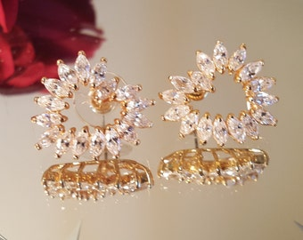 Vintage Cubic Zirconia Gold Plated Heart Earrings Pierced