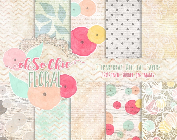 WATERCOLOR FLORAL Digital Paper Pack Commercial Use Backgrounds Mint Peach & Coral Digital Paper with Shabby Chic Wood Lace Digital Paper