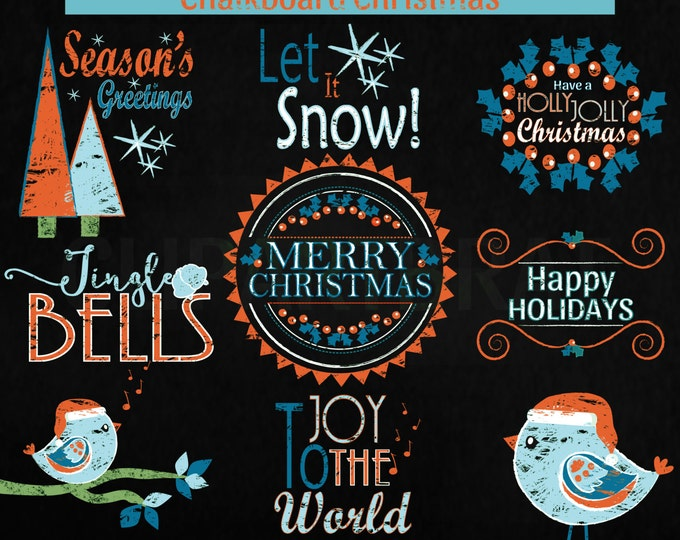 CHRISTMAS CLIP ART Commercial Use Clipart Christmas Chalkboard Word Art Trees Bird Holiday Digital Clip Art Teal Orange Chalk Board Clipart