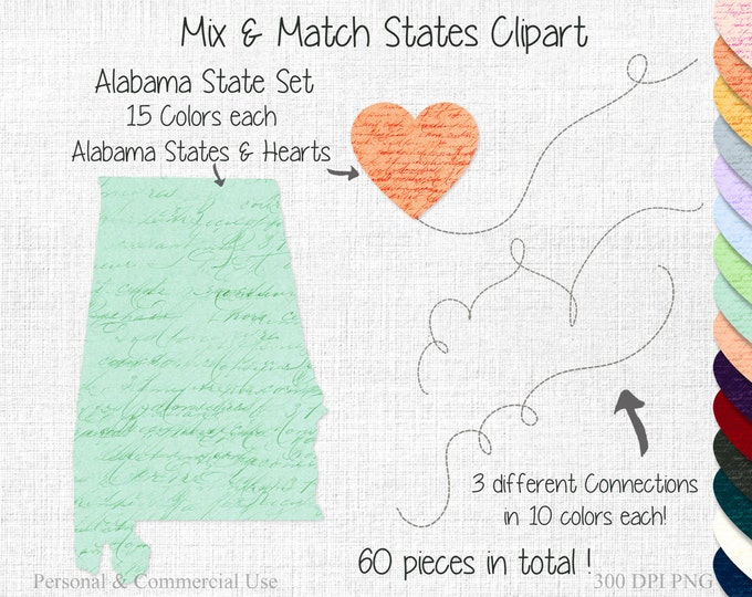 ALABAMA STATE to STATE Clipart Commercial Use Clipart Mix & Match States Wedding Clipart Alabama Map Graphic 2 States Connected Clipart