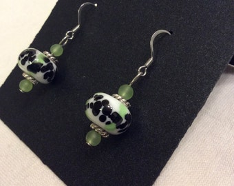 Lampwork Glass Black and Green Earrings