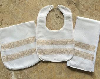 Baby bib, burpcloth, and diapercloth set