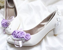 Wedding Shoe - White Wedding Shoe - Short Heel Wedding Shoe - purple flower Wedding Shoe - Pearl Wedding Shoe