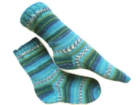 Hand knit socks diabetic socks stripey blue turquoise