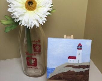 Lighthouse, original acrylic painting of lighthouse, mini 3x3 painting