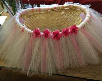 Pink and Cream Tutu Basket