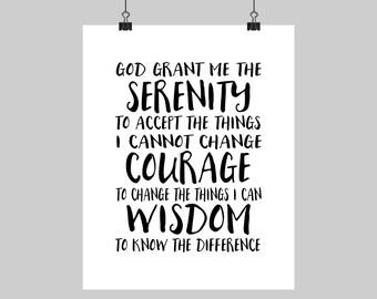 digital printable serenity prayer god grant me calligraphy typography print black u0026 white wall decor spiritual