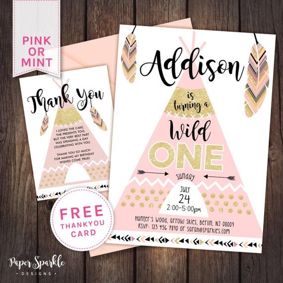 Wild One Invitation First Birthday By PaperSparkleDesigns