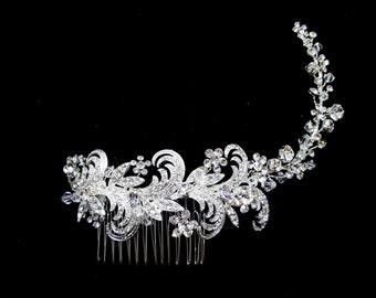 Swarovski Flexible Bridal Comb, Flexible Wedding Comb, Long Bridal Comb, Vintage Inspired Bridal Comb