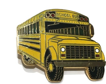 Vintage yellow school bus pin enameled gold tone metal jewelry