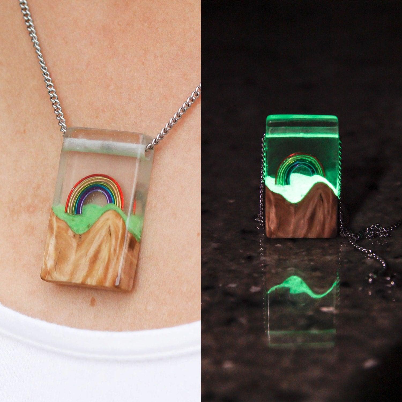 Glow In The Dark Wood rainbow glow pendant/necklace - wood/resin, glows in the dark!