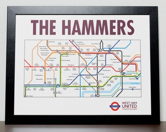 West Ham United Greatest Ever Players Tube/Subway Poster