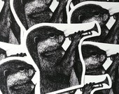 Otter with Trumpet Vinyl Die cut Sticker *re-stocked* - Black and White High Quality Laptop Sticker