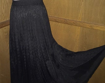 Vintage Black Broomstick Wide Sweep Rayon Skirt sz S Small