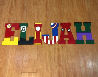10.5in or 13.5in handpainted superhero hanging letters