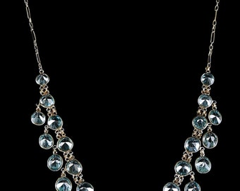 Antique Victorian Blue Zircon Necklace Garland Necklace Circa 1900
