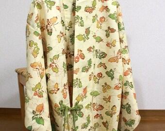 Yellowish green butterfly Haori Kimono