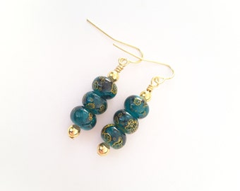 Green and Gold Asian Inspired Earrings