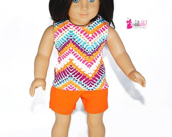 Special Sale American made Girl Doll Clothes, made to fit like American girl doll clothes, Chevron Top with Orange Shorts