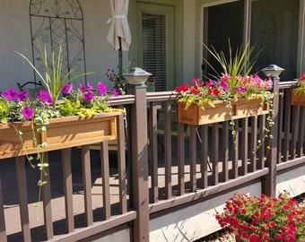 3 pot - Universal Deck Rail Planter Box - Redwood