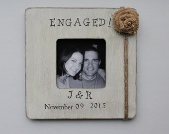 Engagement Picture Frame, Ivory Frame, Rustic Engagement Photo Frame