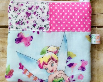 Disney coin purse, small makeup bag, zipper pouch, Tinkerbell with flowers