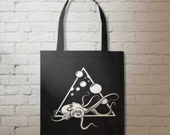 Escape of the Octopus Tote Bag. Reusable Tote.