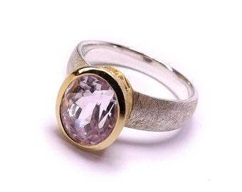 Natural Kunzite Silver Ring s6.5