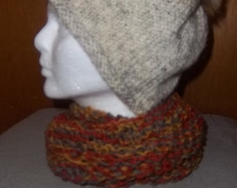 Hand-knitted hat and scarf