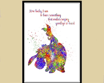 Eeyon and Piglet inspired, Winnie the Pooh, Watercolor print, Kids Room Decor, Poster,print(1128b)