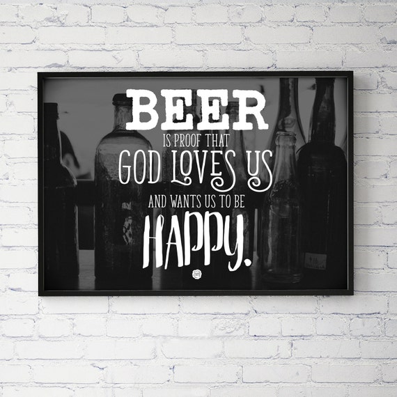 Ben Franklin Beer Quote: Beer Quote Happy Ben Franklin Typography Poster Print